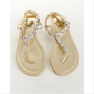 Stuart Weitzman Womens Bonnie Gold Jeweled Sandals